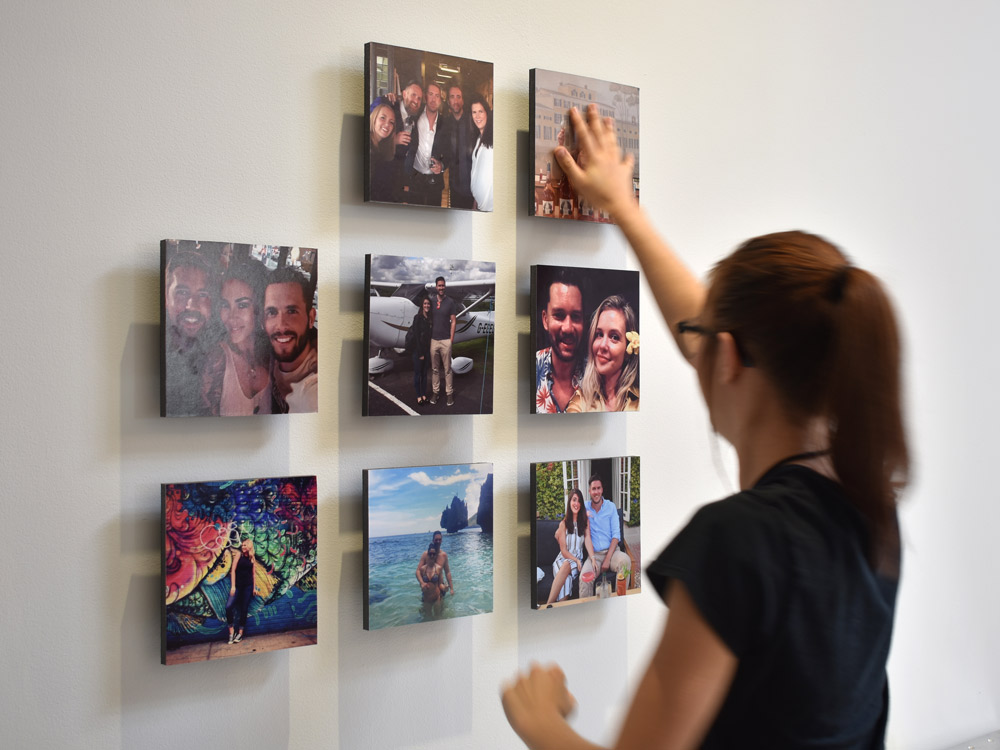 Achieve the perfect grid of your favorite photos on the wall with Stuckup's innovative Paper Spacer and Magnetic Mount system