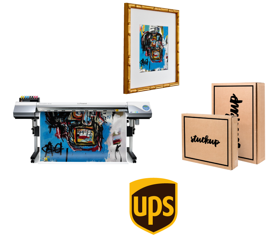 Stuckup handles all printing, framing, packing, shipping and customer support